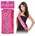 glamorous pink sash with sequin edging soft pink writing