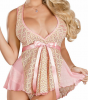 B470 Womens Pink Floral Lingerie Sweetheart Deep Plunge Belted Baby Doll Set