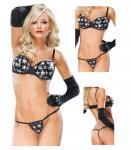 Sexy Underwear Moulded Push-Up Underwire Bra CQ-3690 Black Silver Star Sequin