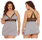 Heather Grey Jersey Knit with Floral Lace Chemise and Thong Set-XLarge Two Piece