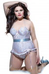 Coquette Spellbound Bustier Corset 1X/2X Pink/Silver Lace and Satin Lycra