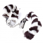 Zebra Faux Fur Chrome Style Steel Hand Cuffs for Dress Up Cops & Robbers